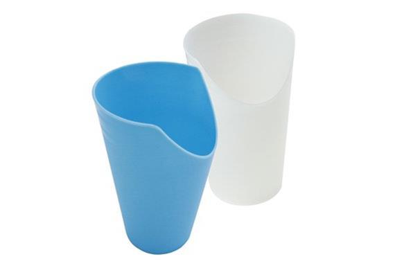 Becher mit Nasenausschnitt 250mlt weiss/transparent Kunststoff, spülmaschinenfest
