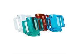 Becher schräg Handycup mit Deckel 4mm blau (Trinkbecher-Set) spülmaschinenfest+Mikrowelle