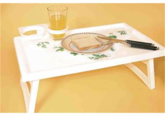 Bett-Tisch Kunststoff weiss zusammenklappbar 53x32x20cm (Bett-Serviertisch)