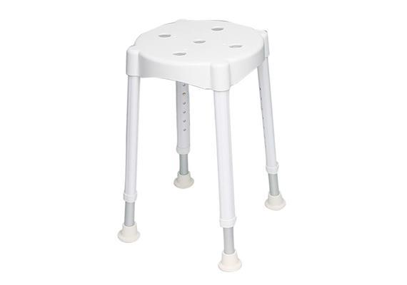 Duschhocker Komfort Sitzhöhe 46.5 - 64 cm, 3.5 kg, Sitzfläche: Ø 32 cm, max. 150 kg