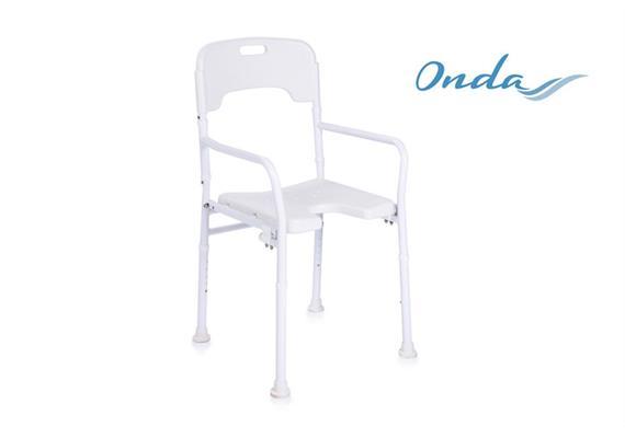 Duschstuhl Onda Alu faltbar mit Rücken- und Armlehnen, Intimausschnitt, zusammenklappbar