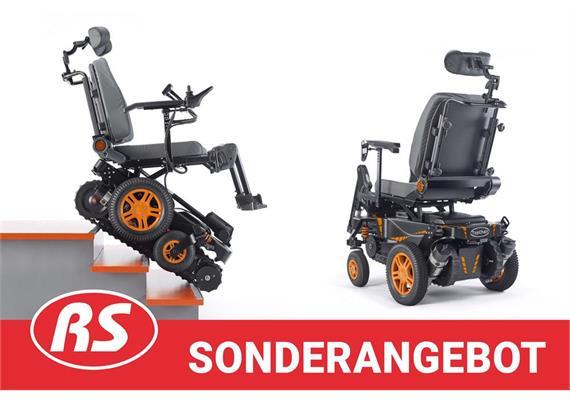 Elektrorollstuhl TopChair schwarz/orange mit Treppensteigraupe