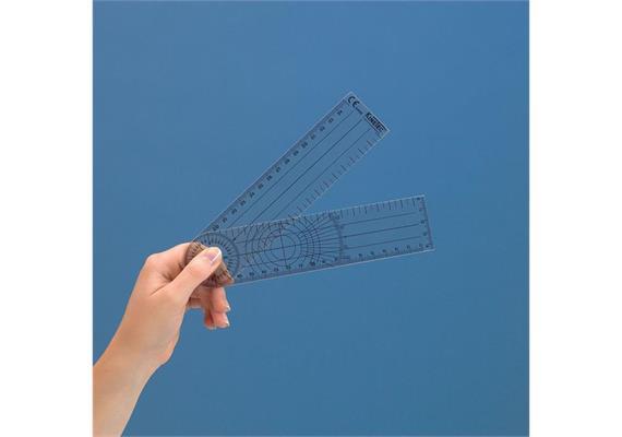 Goniometer 20cm aus Kunststoff. Arme in cm und Ziffernblatt in 2°-Schritten