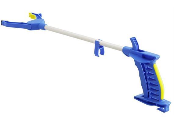 Greifzange Falke 78cm blau/gelb mit Softgriff + Magnet + Ankleidehaken, Gewicht 208 g