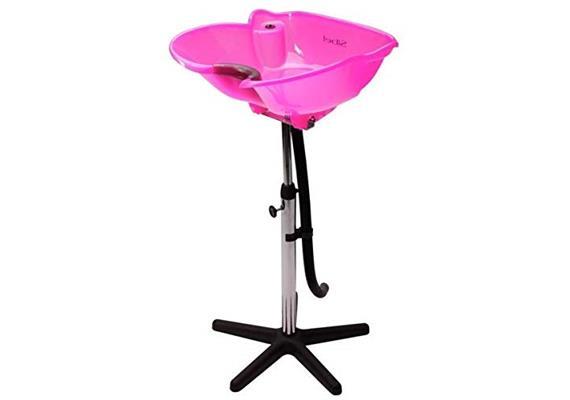 Haarwaschbecken verstellbar freistehend inkl. Stativ und Ablass-Schlauch pink
