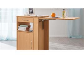 Nachttisch Hermann mit beidseitig ausziehbarer Schublade und abklappbarer Tischplatte