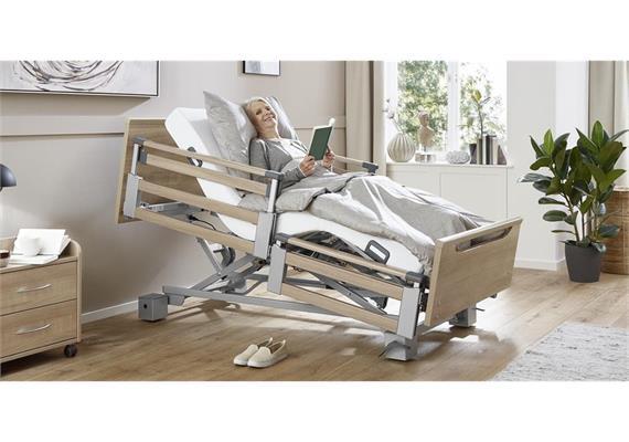 Pflegebett Komfort 100x200 TSG 26-80cm mit geteilten Seitengittern ohne Aufziehstange