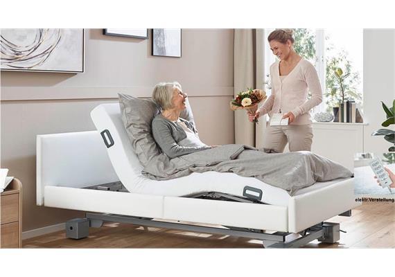 Pflegebett Komfort Premium 100x200 mit gepolsterten Seiten-/Kopfteilen weiss