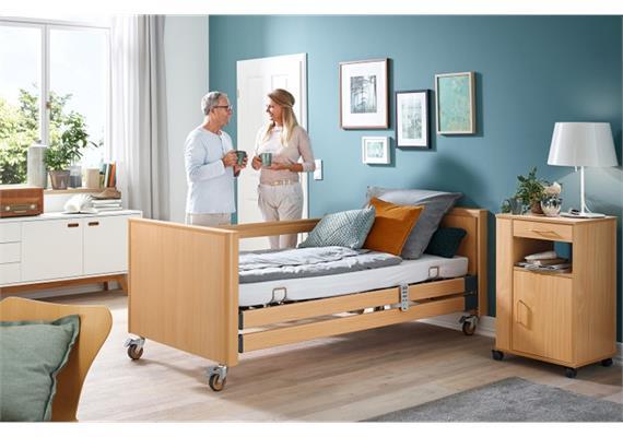 Pflegebett Standard DAB 90x200cm mit Bluetooth-Handschalter, ohne Aufrichter