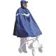 Regenponcho für Rollatorfahrer mit Kapuze, dunkelblau mit Reflektorstreifen, ohne Ärmel