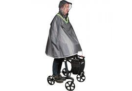 Regenponcho für Rollatorfahrer mit Leuchtstreifen grau (Regencape large)