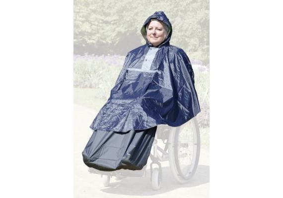 Regenponcho für Rollstuhlfahrer mit Beinschutz und mit Kapuze, grau/schwarz, ohne Ärmel