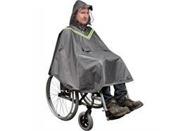 Regenponcho für Rollstuhlfahrer ohne Ärmel mit Leuchtstreifen grau (Regencape)