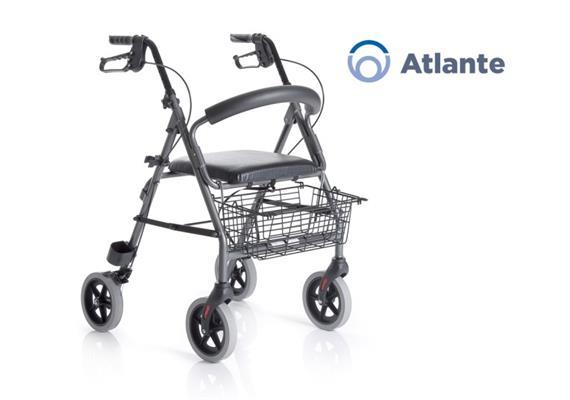 Rollator Atlante SH56 Alu anthrazit mit Rückenbügel und gepolstertem Sitz