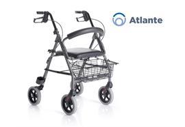 Rollator Atlante SH56 Alu anthrazit-silber mit Rückenbügel+gepolstertem Sitz+Korb