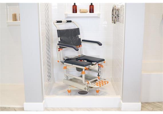 ShowerBuddy Dusch-/Toilettenstuhl mit Transferschiene für Dusche
