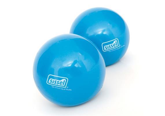 Sissel Pilates Fitness Toning Ball 900g blau Ø 9cm mit griffiger Oberfläche, Set à 2 Stk.