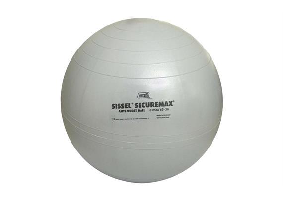 Sitzball Securemax 75cm silber max. Belastbarkeit 150 kg inkl. Übungsposter und Stöpsel