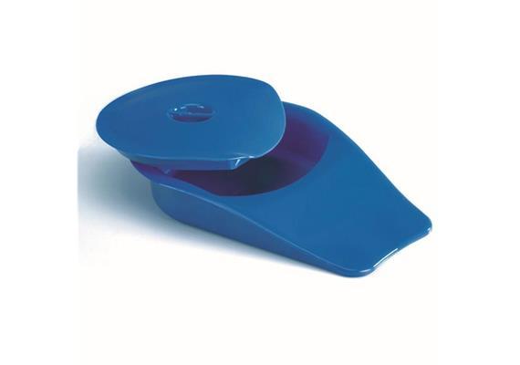 Stechbecken blau mit Deckel (430296), anatomische Form, Fassungsvermögen max. 2,2 Liter
