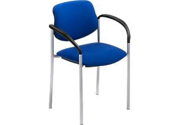 Stuhl mit Armlehnen blau Modell Chur mit Chromgestell