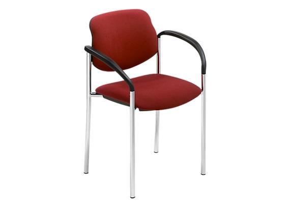 Stuhl mit Armlehnen bordeaux-rot Modell Chur mit Chromgestell