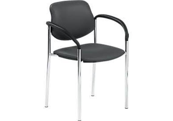 Stuhl mit Armlehnen schwarz Modell Chur mit Chromgestell