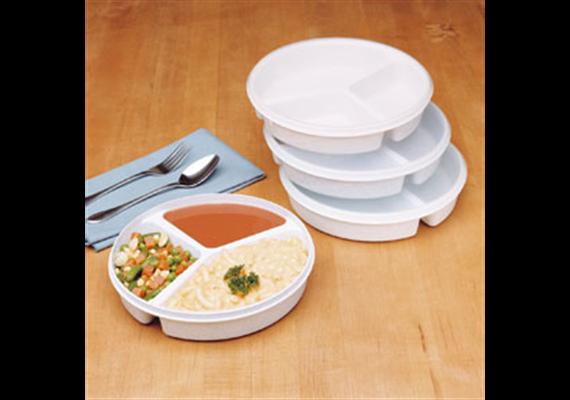 Teller unterteilt mit Deckel Durchmesser 21cm (3-fach) aus Kunststoff, spülmaschinenfest