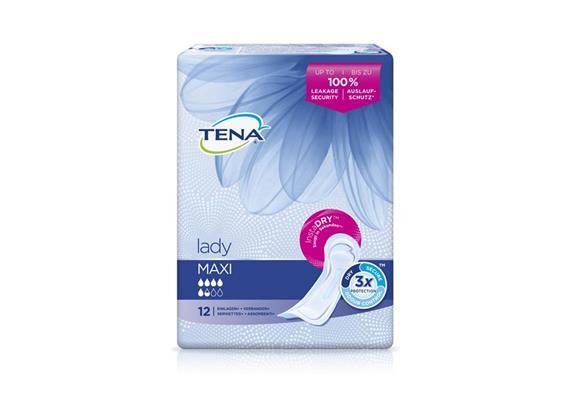 TENA Lady Maxi 12 Stk saugfähige Einlagen mit weichen elastischen Seitenbündchen, blau