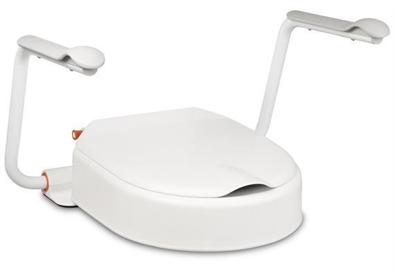 Toilettenaufsatz HI-LOO Fix II 10cm mit hochklappbaren Armlehnen, max. 150 kg