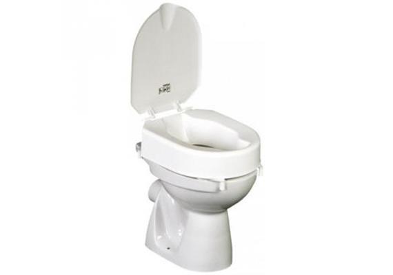 Toilettenaufsatz HL 6cm mit Deckel, Toilettensitzerhöhung m.Klammern, max. 150kg