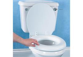 Toilettensitzerhöhung gepolstert mit Deckel 5 cm max. 91kg, aus Schaumstoff und Vinyl