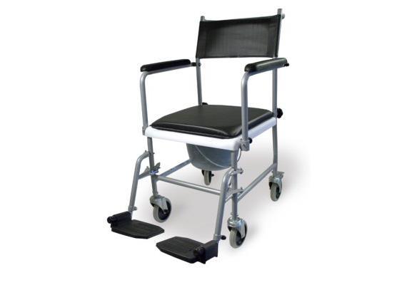 Toilettenstuhl fahrbar silber TS-1 mit schwenkbaren Beinstützen und Armlehnen, max.120 kg