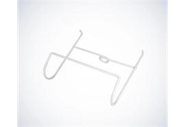 Urin-Beutelhalterung für Bettrahmen weiss, rund, Metallgestell beschichtet zur Befestigung